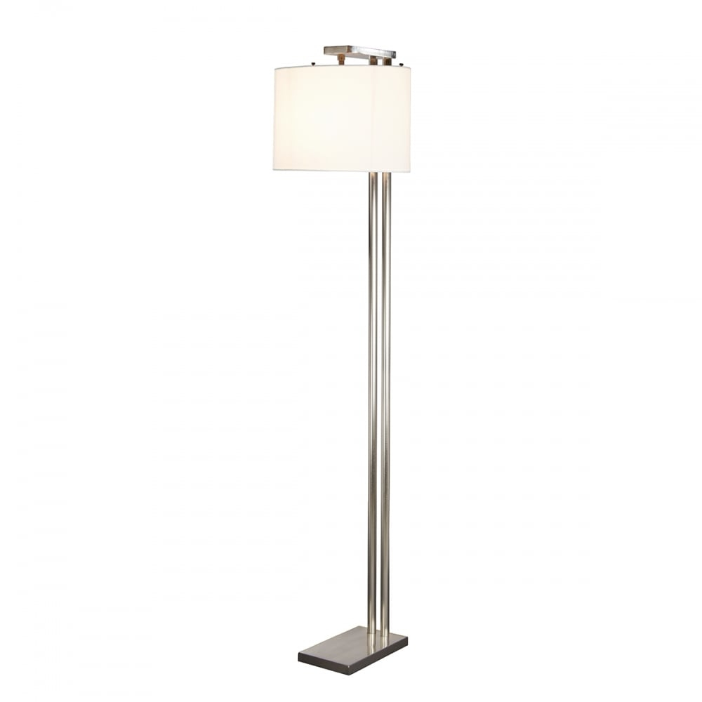 Belmont Contemporary Brushed Nickel Floor Lamp With White Shade in size 1000 X 1000