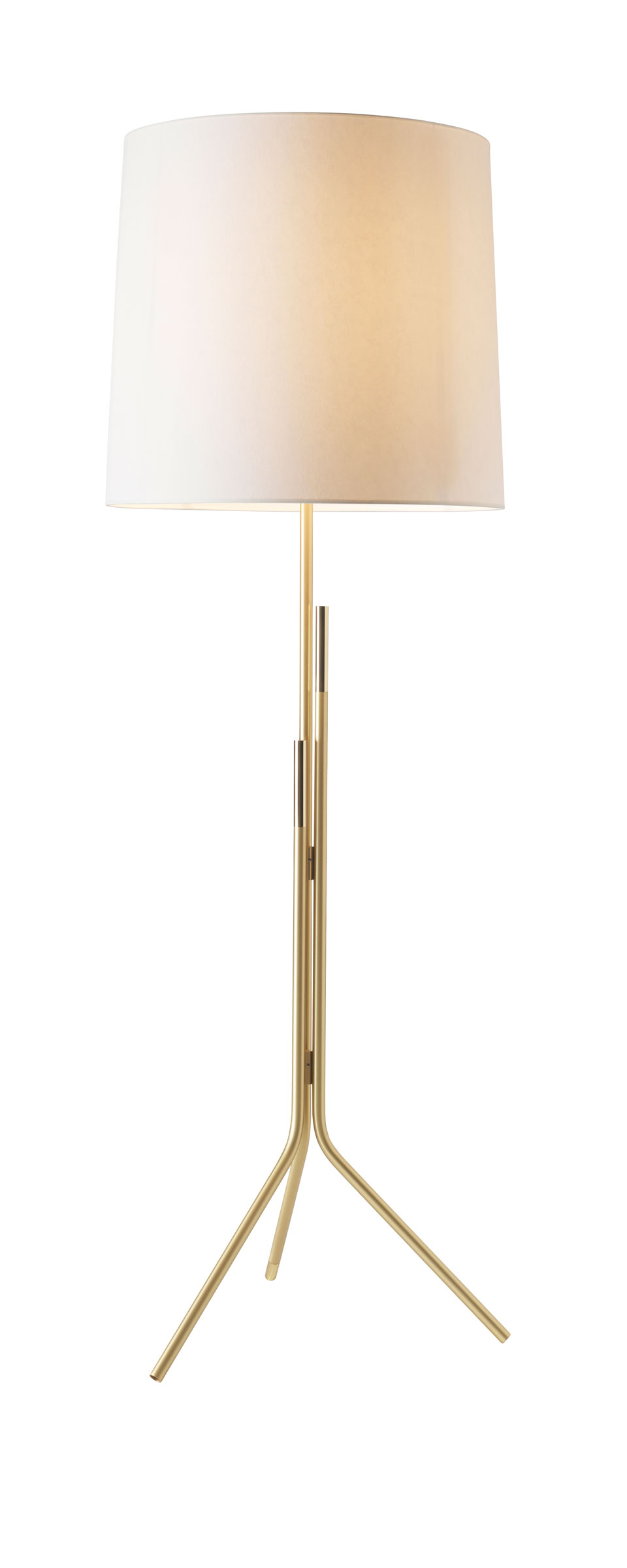 Contemporary Floor Lamp Brass Stand Cylindrical Shade In White Drop Paper Design Herv Langlais regarding size 960 X 2399