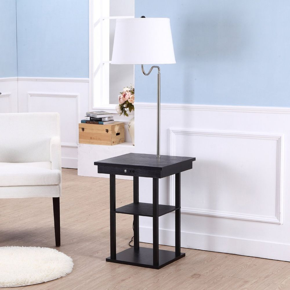 End Table With Lamp Built In Attached With Storage Living regarding measurements 1000 X 1000