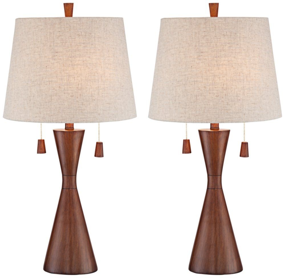 Omar Mid Century Modern Table Lamps Set Of 2 Brown Wood throughout measurements 1000 X 976