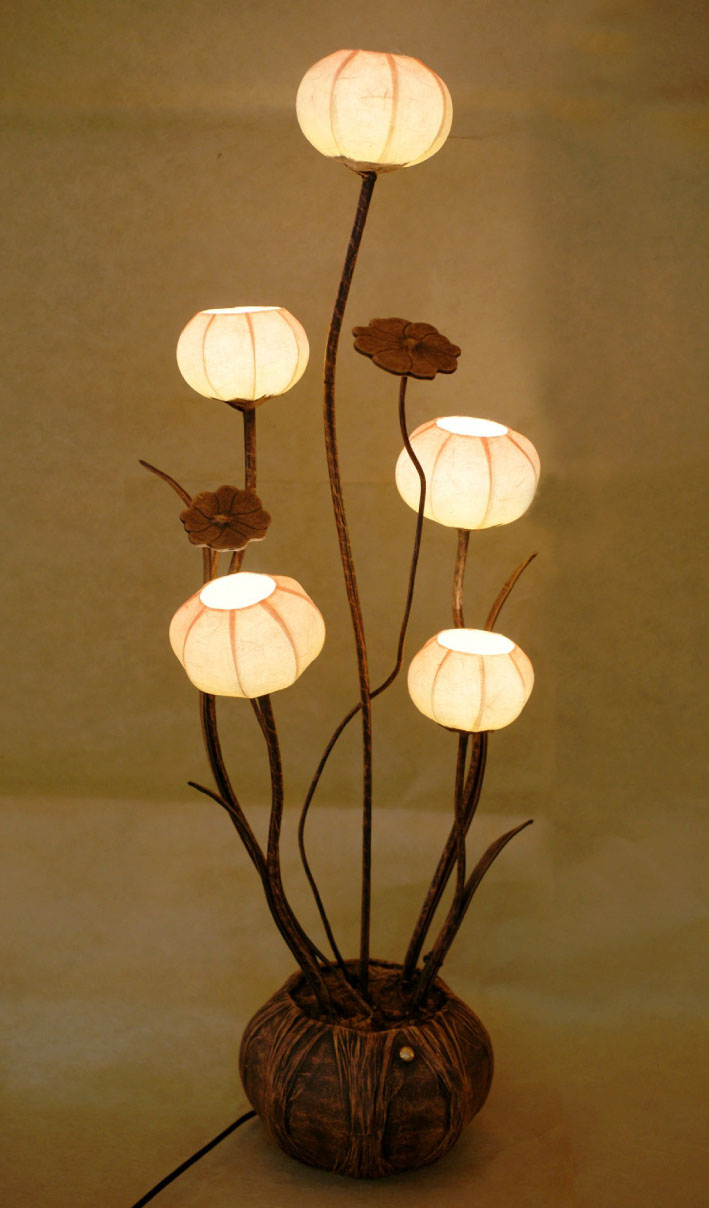 Paper Floor Lamp Shades With Five Flower Bud Lantern Lights within measurements 709 X 1208