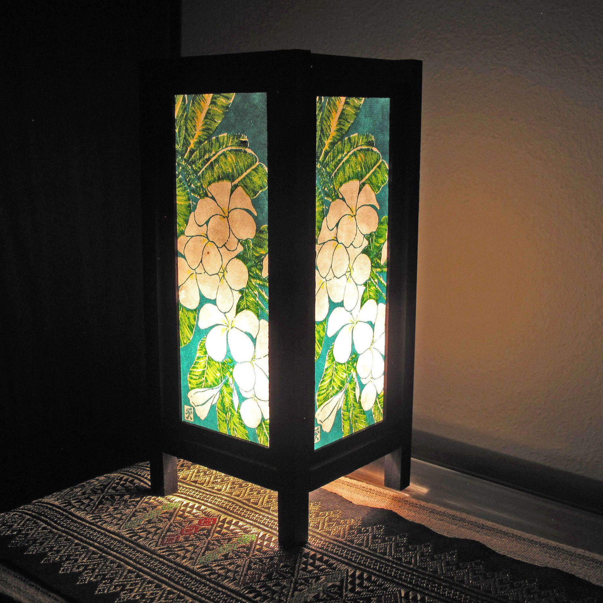 Plumeria Mulberry Paper Wood Frame Table Lantern Lamp with regard to sizing 2048 X 2048