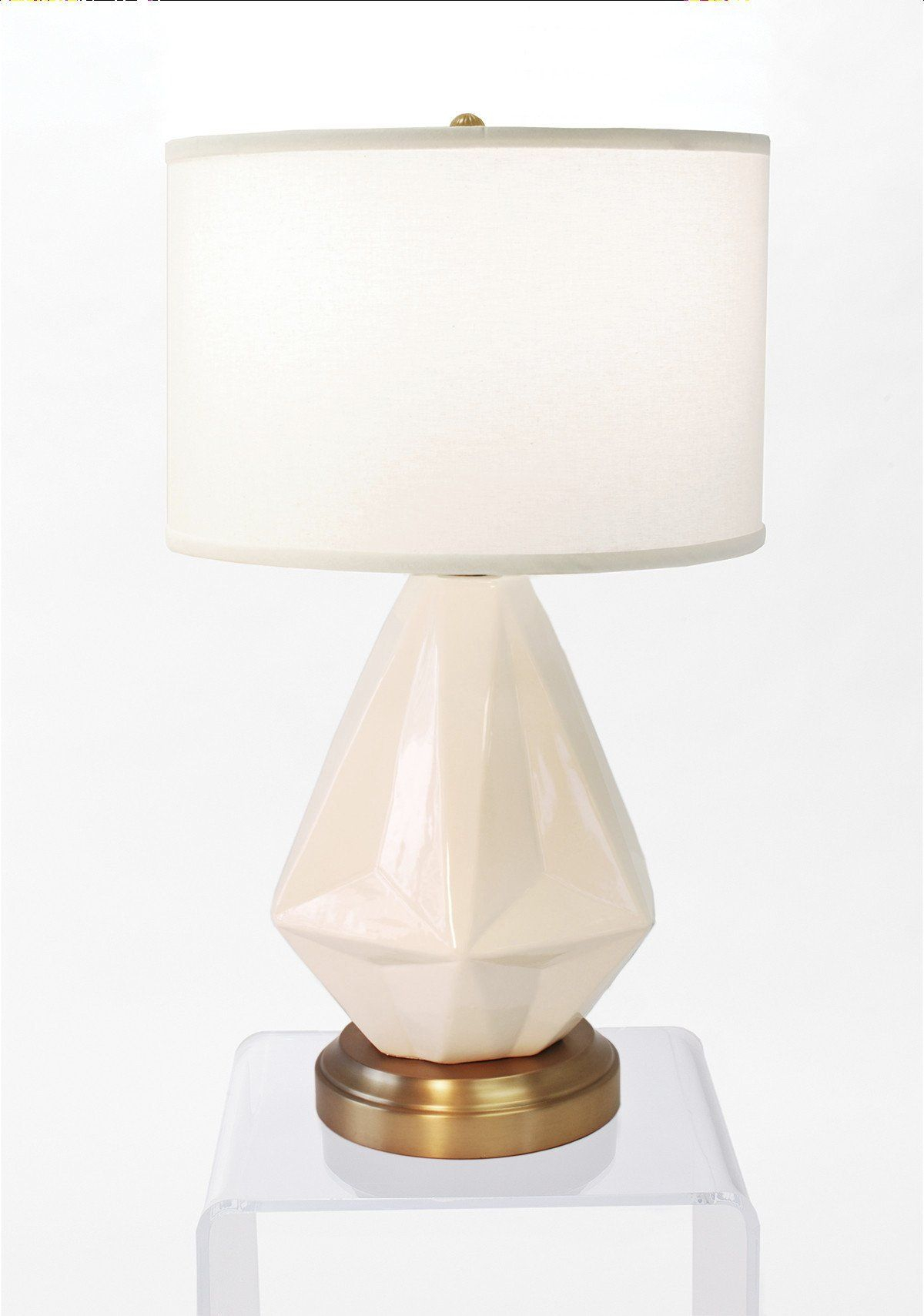 Prisma White On Brass Cordless Lamp Made In The Usa with measurements 1200 X 1709