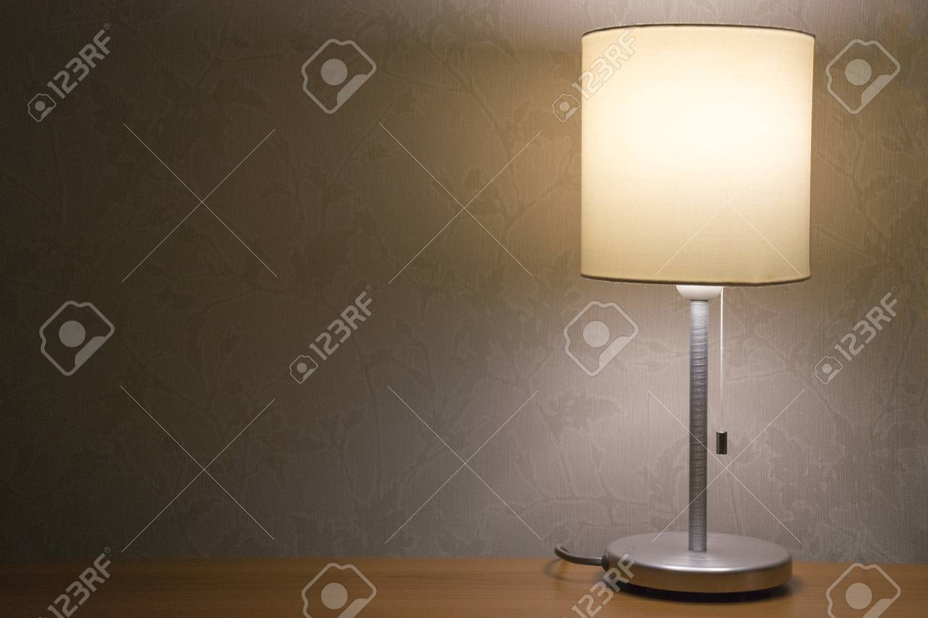 Table Lamp Over White Wall Background Modern Minimalistic Night regarding proportions 1300 X 866