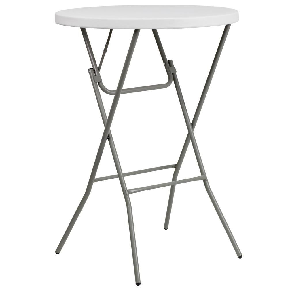 32 Round Plastic Bar Height Folding Table With Granite White Surface in dimensions 1000 X 1000