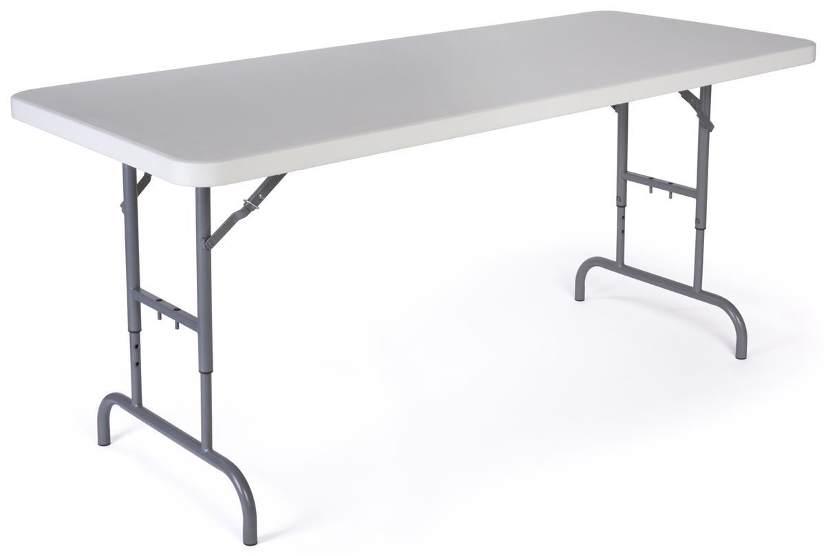 6 Folding Table Height Adjustable White inside sizing 1200 X 809