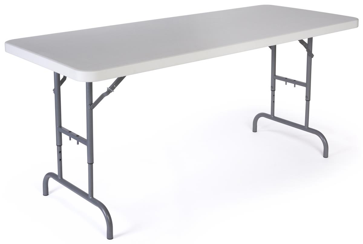 6 Folding Table Height Adjustable White throughout sizing 1200 X 809