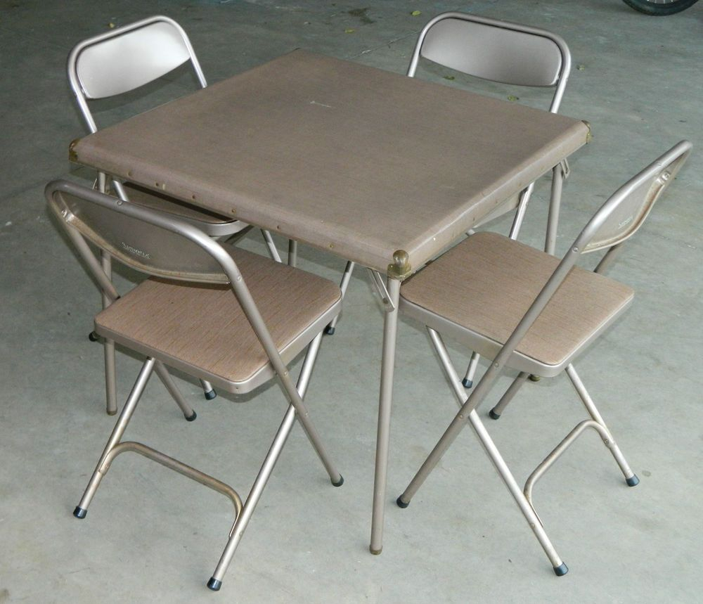 7733 2533 Vtg Retro Samsonite Folding Card Table 4 Chairs with dimensions 1000 X 859