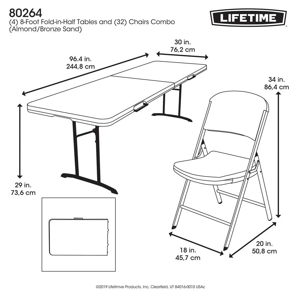80624 Lifetime Almond 4 Folding 8 Tables 32 Folding Chairs Package within sizing 1000 X 1000