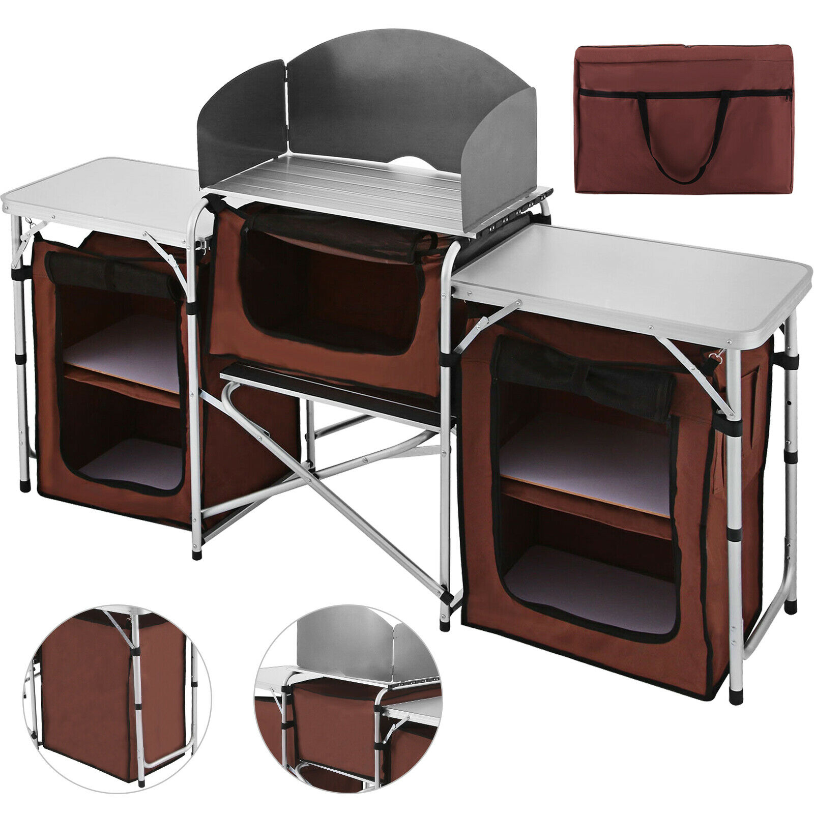 Aluminium Super Light Camping Kitchen With Sink Bowl In Carry Bag Caravan throughout measurements 1600 X 1600