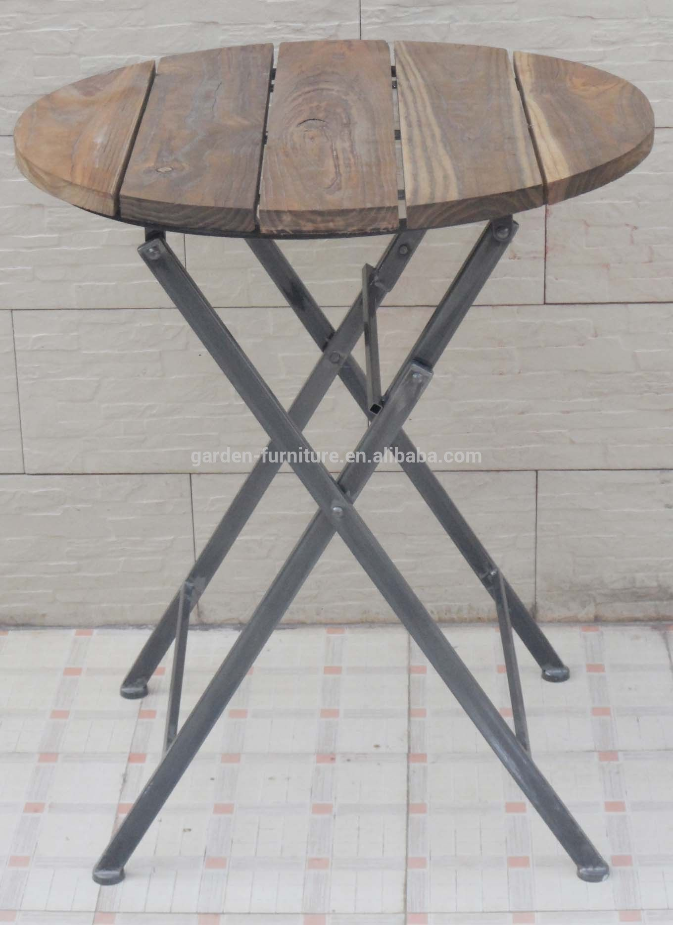 Bar Furniture Small Round Table Antique Metal Wood Folding with regard to sizing 1360 X 1868