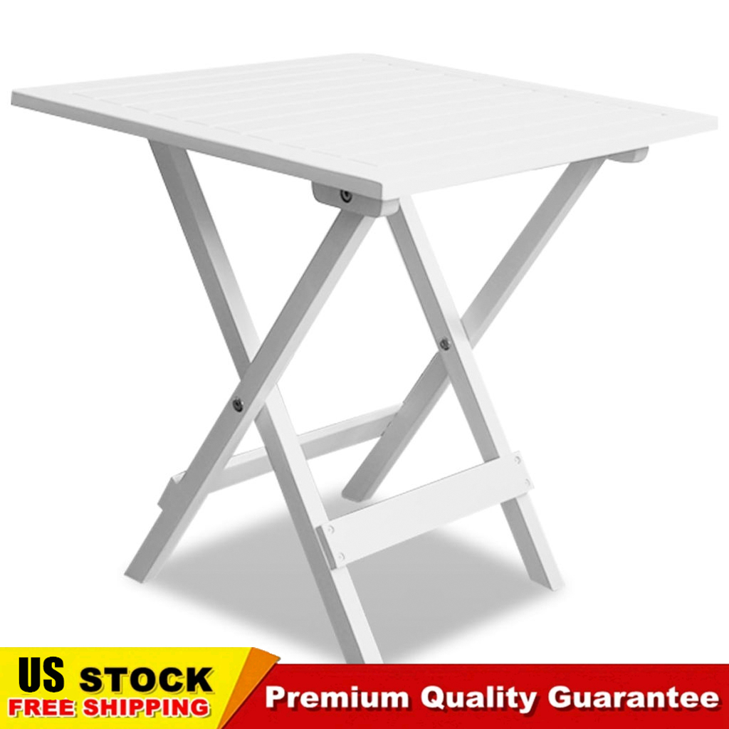 Details About Outdoor Coffee Side Table Small Folding Square Acacia Wood Patio Furniture White inside sizing 1024 X 1024