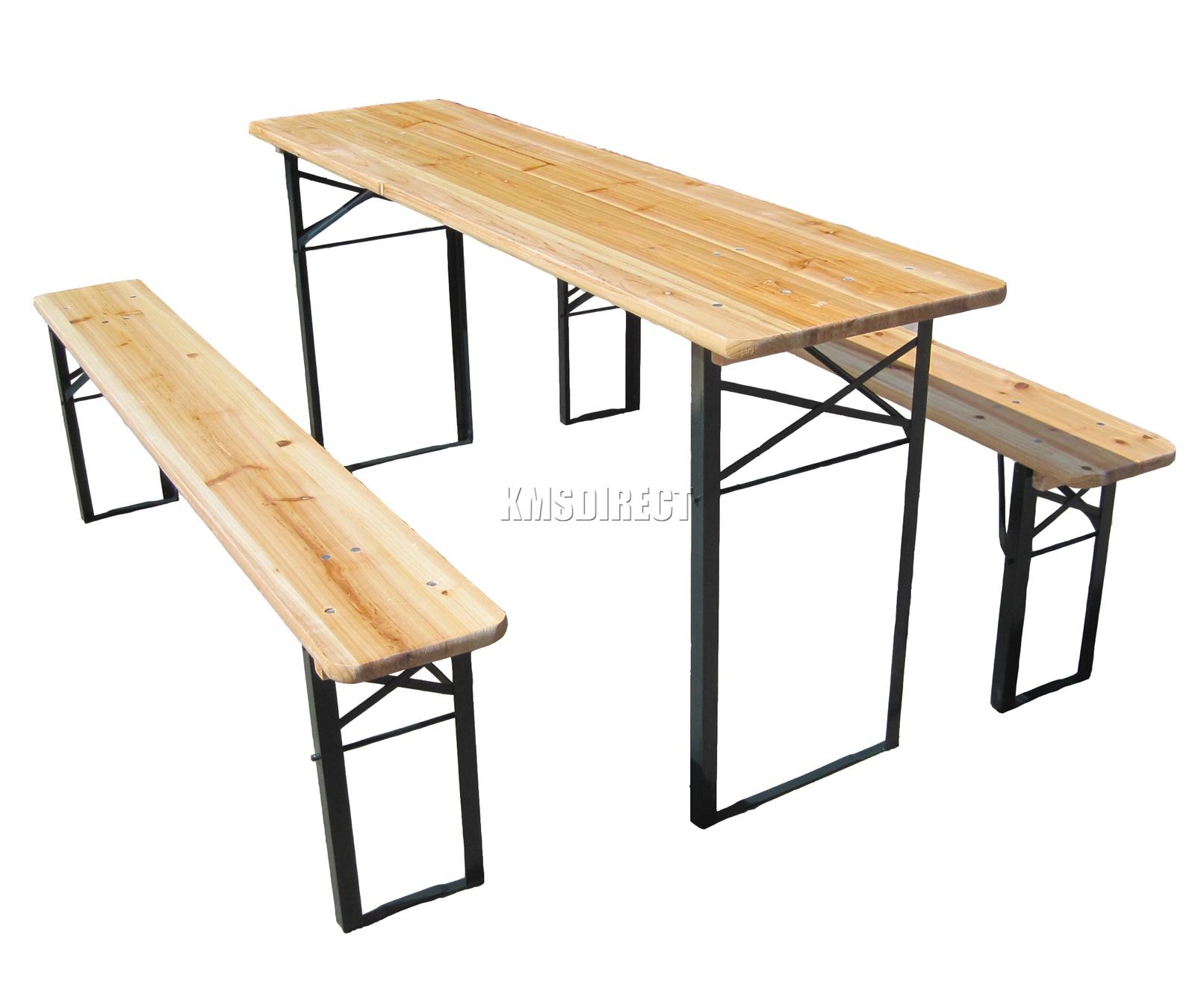 Details About Westwood Outdoor Wooden Folding Beer Table Bench Set Trestle Garden Steel Leg inside dimensions 1600 X 1350
