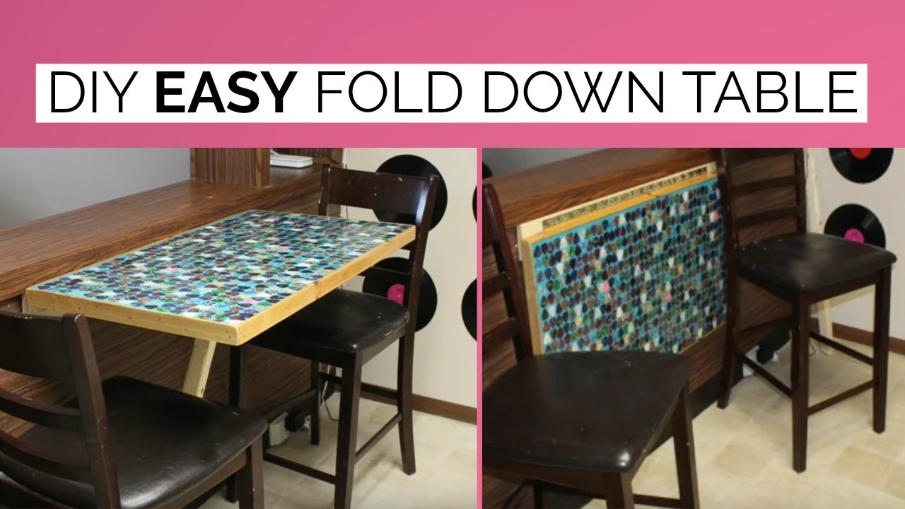 Diy Wall Mounted Fold Down Table Space Saving Kitchen Tabledesk Laci Jane within dimensions 1280 X 720