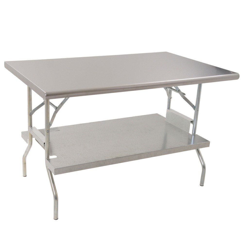 Eagle Group T2472f Us 24 X 72 Stainless Steel Lok N Fold Open Base Table With Removable Galvanized Undershelf pertaining to size 1000 X 1000