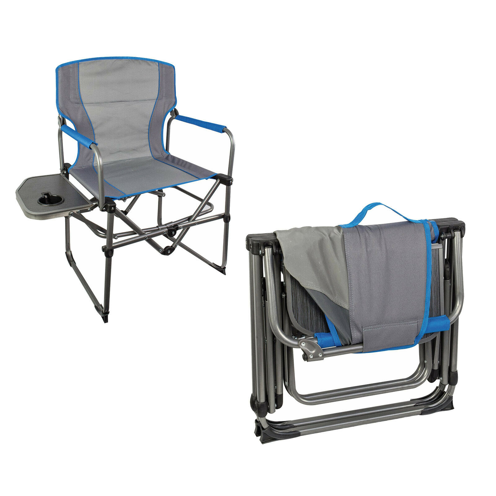 Highlander Compact Steel Camping Directors Chair With Side Table intended for measurements 1600 X 1600