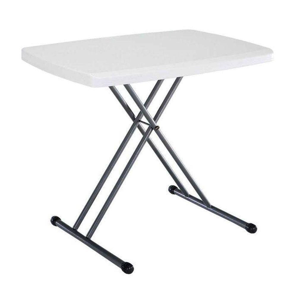 Lifetime 30 In White Plastic Adjustable Height Folding Utility Table throughout size 1000 X 1000