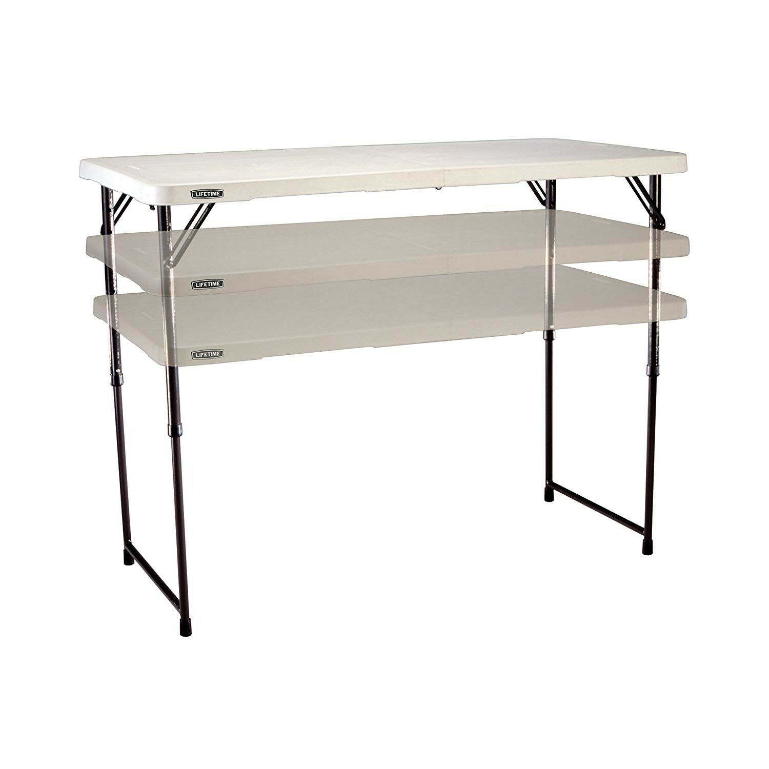 Lifetime 4428 Adjustable Height Folding Utility Table White intended for measurements 1500 X 1500