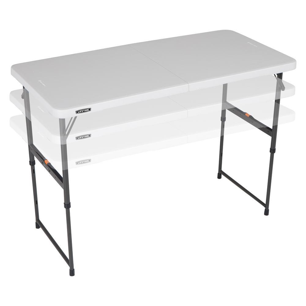 Lifetime 48 In Almond Plastic Adjustable Height Fold In Half Folding Table inside measurements 1000 X 1000
