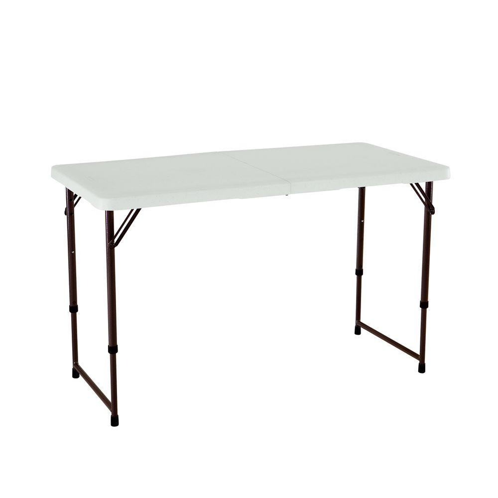 Lifetime 48 In Almond Plastic Adjustable Height Folding High Top Table for sizing 1000 X 1000