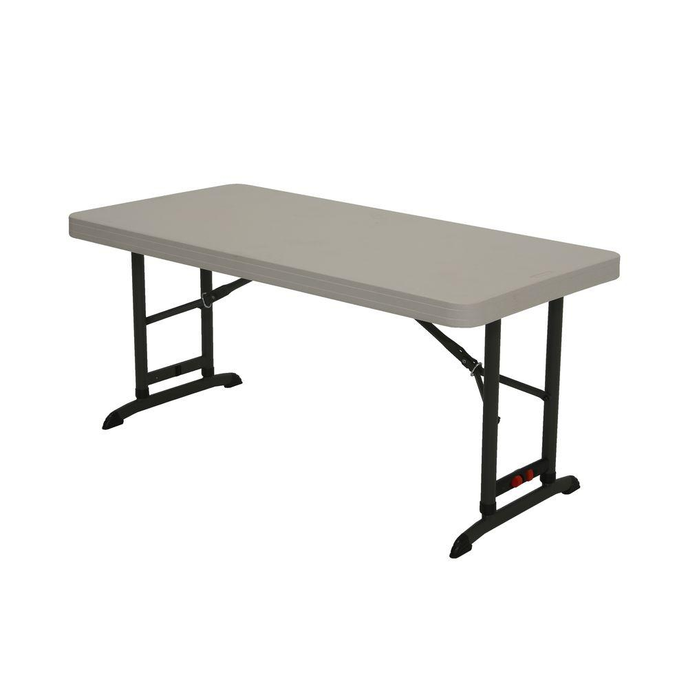 Lifetime 48 In Almond Plastic Adjustable Height Folding High Top Table pertaining to proportions 1000 X 1000