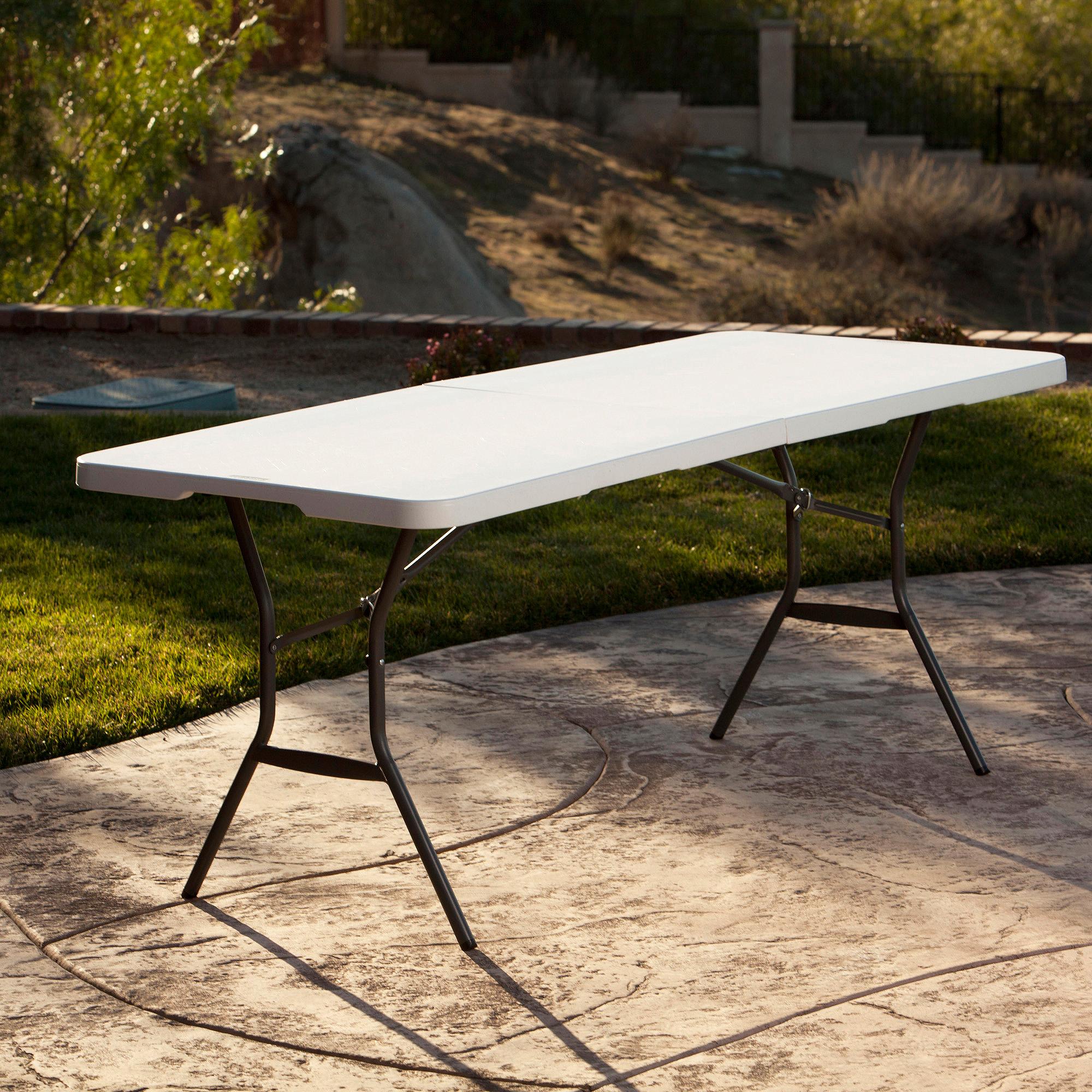 Lifetime 6 Fold In Half Table White Granite Walmart regarding proportions 2000 X 2000