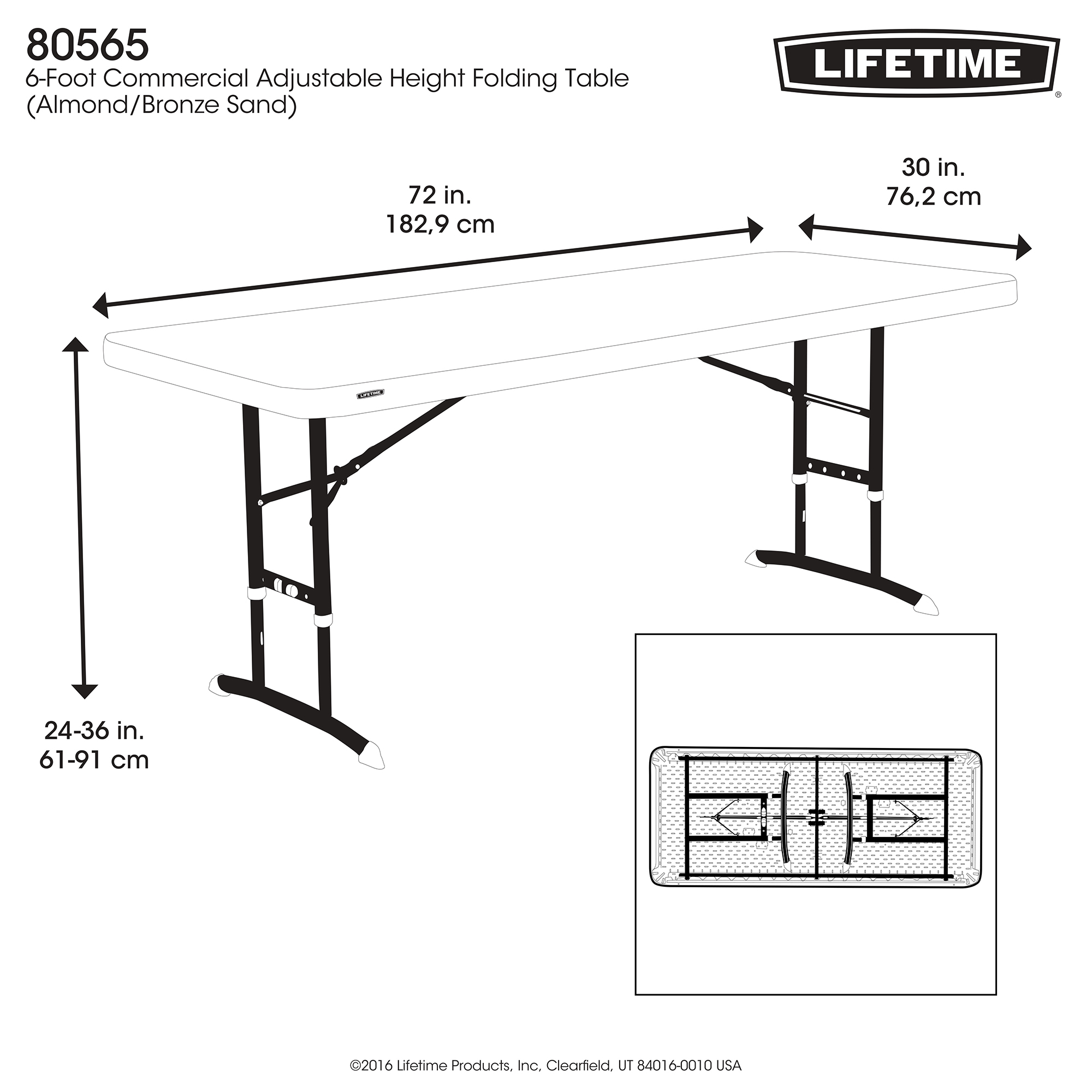 Lifetime 6 Foot Adjustable Height Table In Almond pertaining to sizing 2000 X 2000