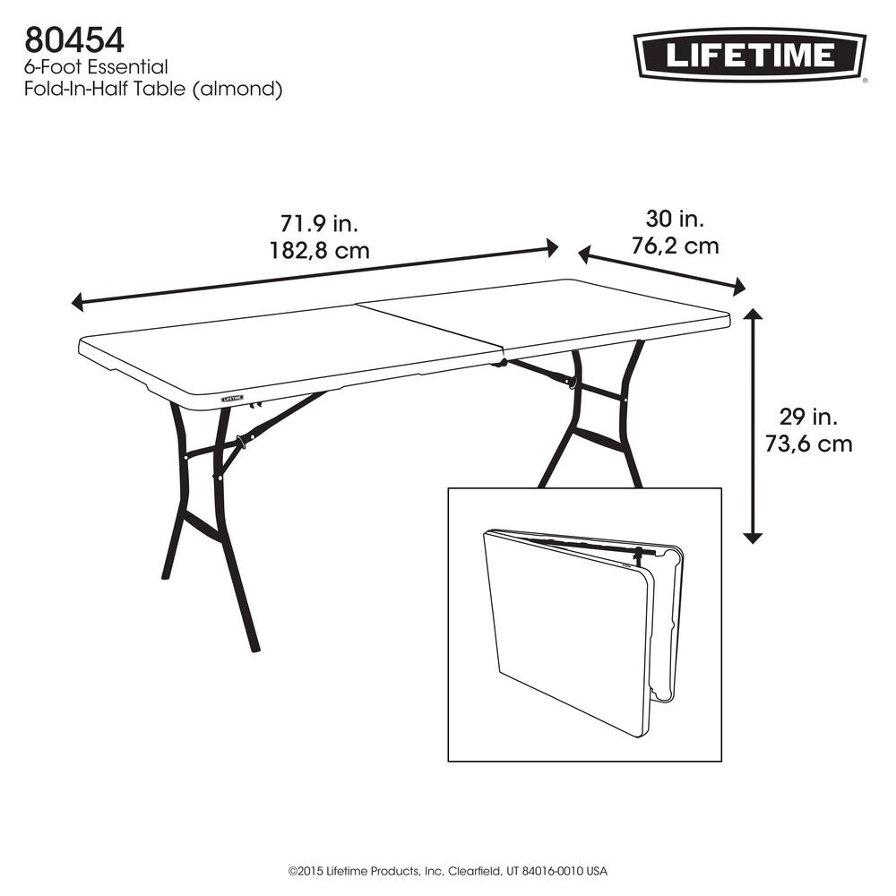 Lifetime 72 In Almond Plastic Portable Folding Card Table inside dimensions 1000 X 1000