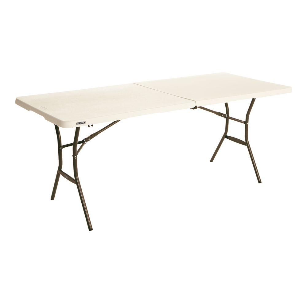 Lifetime 72 In Almond Plastic Portable Folding Card Table pertaining to sizing 1000 X 1000