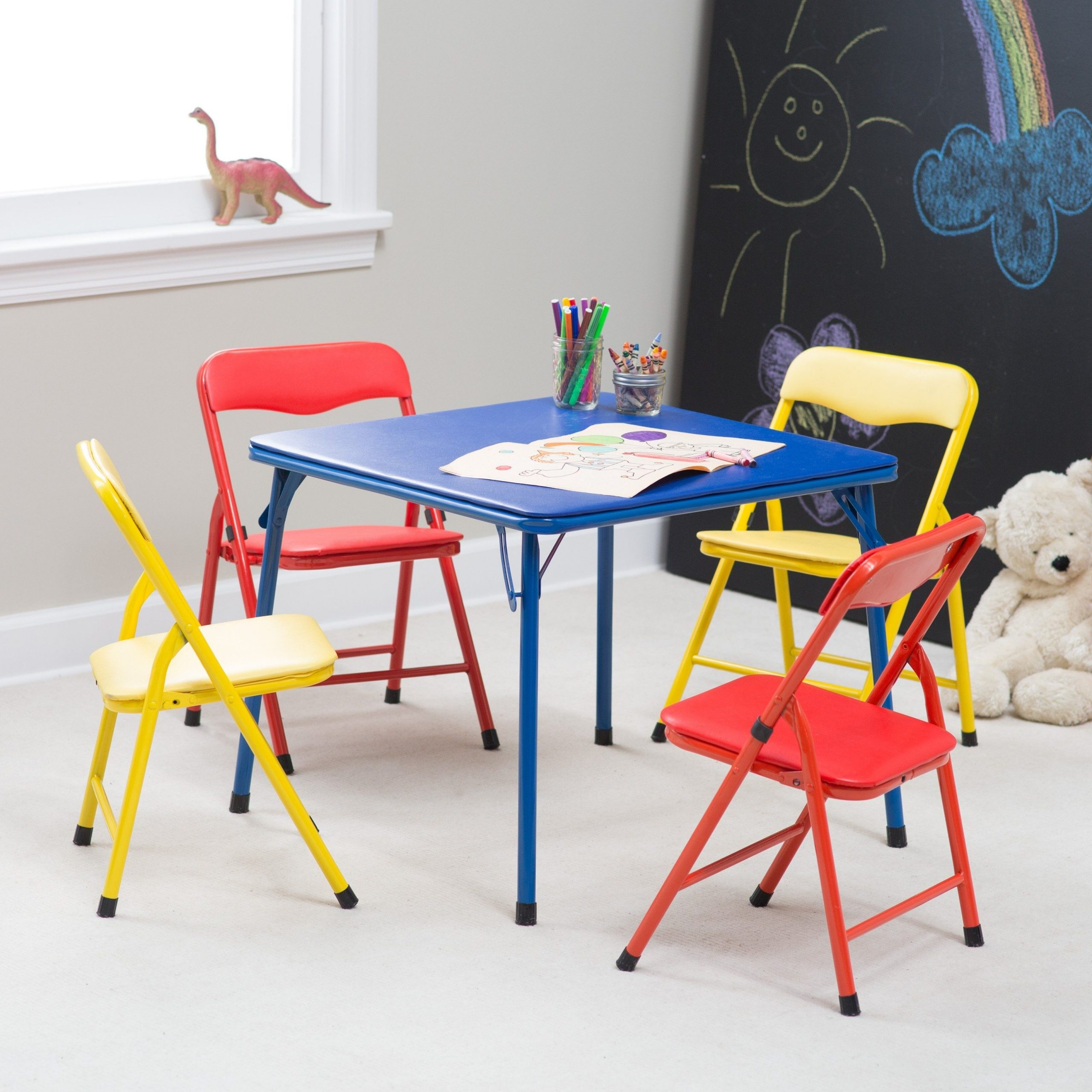 Stakmore Childrens Folding Table And Chairs Display Cabinet