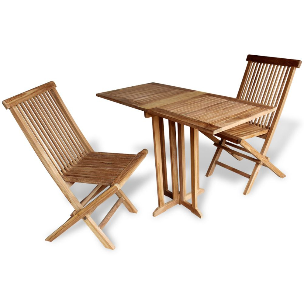 Teak Patio Set Garden Balcony 3 Piece Folding Table Chairs regarding measurements 1000 X 1000