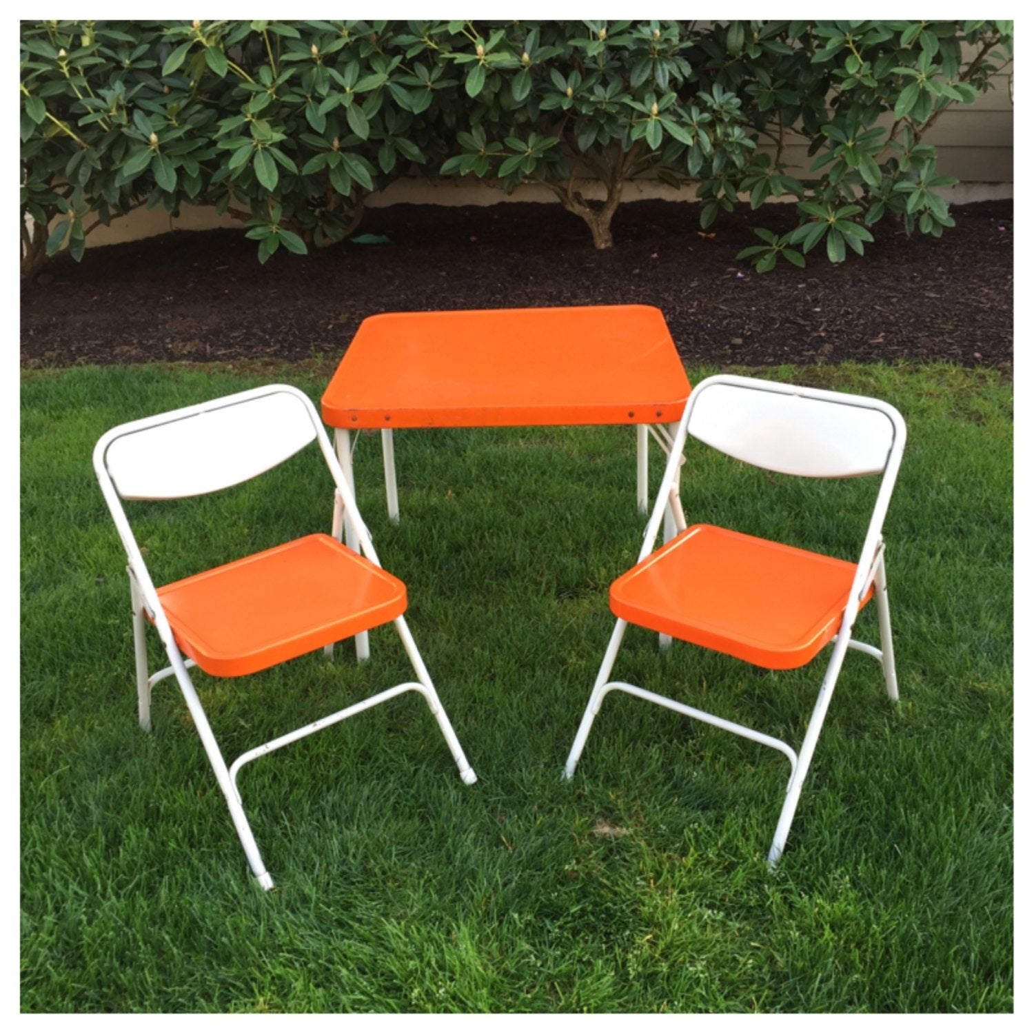 Vintage Orange Samsonite Childs Table Chairs Folding with size 1500 X 1500